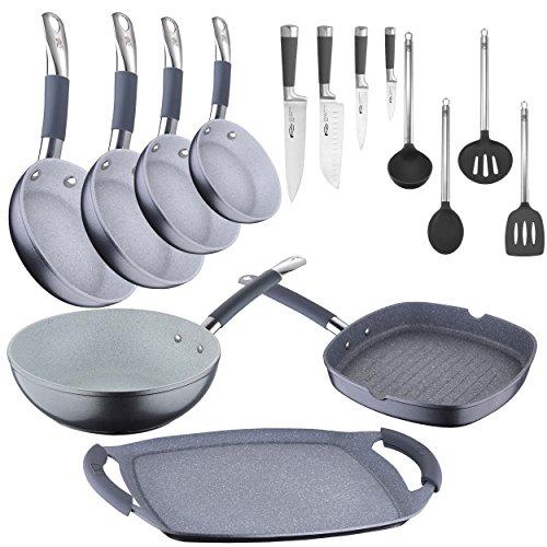 Bateria de cocina profesional: sartenes profesionales, wok y parrillas + cuchillos + utensilios.: Amazon.es: Hogar