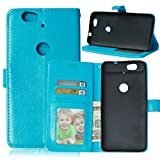 """Huawei Nexus 6P Case, Luxury 3 Credit Card Slots Flip PU Leather Case [Wallet Case] Magnetic Closure With Stand Shell Folio Protection Perfect Fit Cover For Google Huawei Nexus 6P 5.7"""" Blue"""