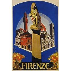 FIRENZE FLORENCE TRAVEL TOURISM ITALY ITALIA ITALIAN VINTAGE POSTER REPRO