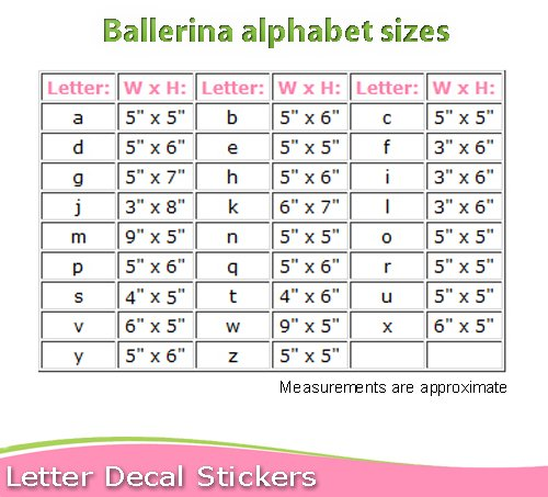 Wall letters quothquot pink ballerina ballet slippers dance shoe for Medical chart letter stickers