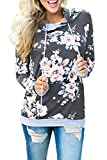 EIFFTER Womem Floral Print Pullover Hoodie Casual Long Sleeve Drawstring Hooded Sweatshirt with Pocket (Large, Dark Grey)