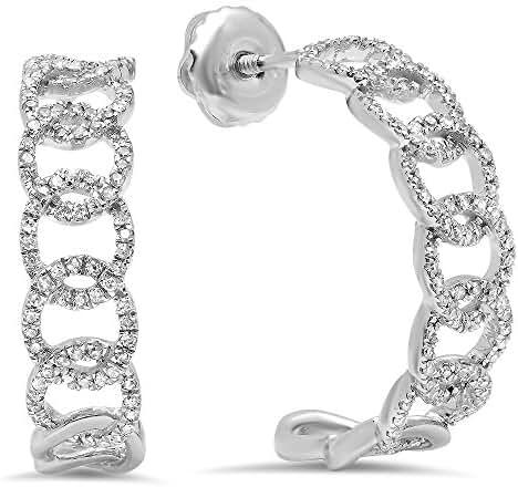 0.28 Carat (ctw) 14K White Gold Round Cut White Diamond Ladies Hoop Earrings 1/4 CT