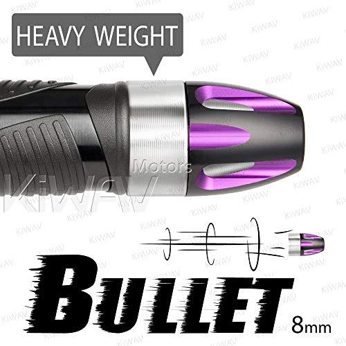 (KiWAV Magazi Handle Bar End Weight Bar End Caps Plugs Bullet Purple w/Silver Base Fit 7/8 & 1