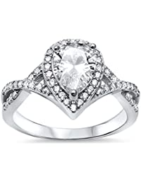 Sterling Silver Pear Cubic Zirconia Solitaire Engagement Ring Sizes 5-10