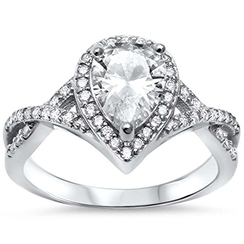 Oxford Diamond Co Sterling Silver Pear Cubic Zirconia Solitaire Engagement Ring Sizes 5