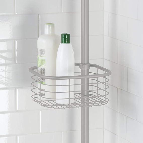 mDesign Estantería de baño sin Taladro – Práctica estantería esquinera para Ducha en Metal y plástico – Organizador de baño Extensible con toallero y 4 cestas para champú, Gel, etc. – Gris