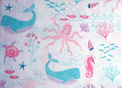 Boat House Girls 4 Piece Full Sheet Set 100% Cotton Under the Sea Creatures Ocean Shells Snails Starfish Whales Turtle Sea Horses Octopuses Fish Pastel Pink Blue White for $<!--$58.00-->
