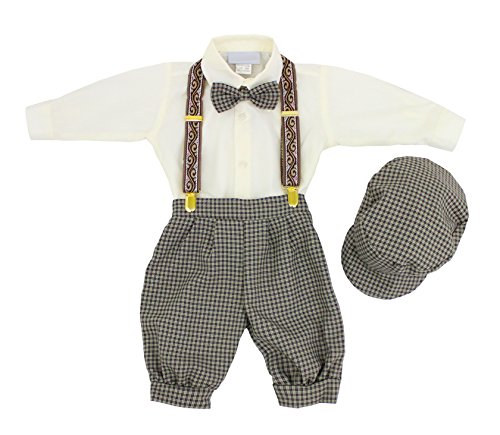 Price comparison product image Luca Gabriel Vintage Baby Boys Toddlers Beige / Ivory Houndstooth Knicker Sling Set - 2t