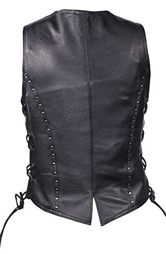 Dream Women's Motorcycle Black Leather Vest W/4 Snap, Side Lace, Studded, Gun Pocket(S)