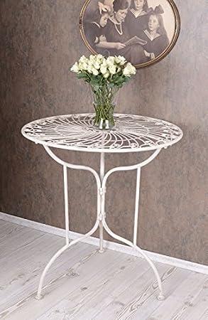 Palazzo Int Gartentisch Shabby Chic Weiss Tisch Metall Antik