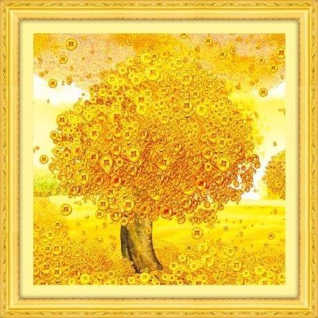 クロスステッチ刺繍キット DMC糸 布地に図柄印刷 黄金生財樹 B00UJCCLL0