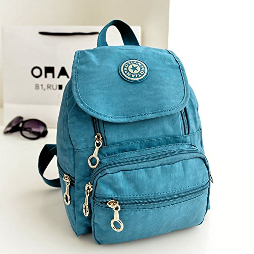 �� 10 Inch Mini Nylon leisure Satchel Hiking Bookbag Backpack Rucksack School Bag for Girls Women (BLUE) (Red Sea Mini Lab)