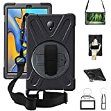 Galaxy Tab A 10.5 Case,360 Degree Rotatable w/Kickstand,Hand Strap & Shoulder Grip case, 3 Layer Hybrid Heavy Duty Shockproof Cover for Samsung Galaxy Tab A 10.5 inch 2018 Model SM-T590/T595 Black