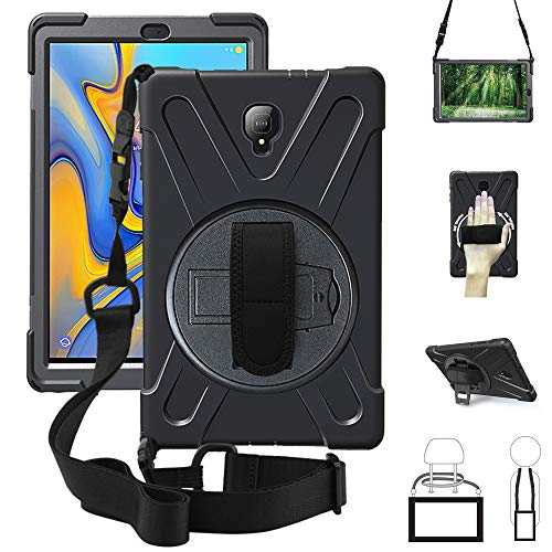se,360 Degree Rotatable w/Kickstand,Hand Strap & Shoulder Grip case, 3 Layer Hybrid Heavy Duty Shockproof Cover for Samsung Tab A 10.5 inch 2018 Model SM-T590/T595 T590 Black ()