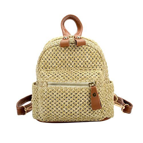Yumi Fashion - Yumi Women's Fashion Woven Mini Backpack Girls College Travel Bag School Bag (Brown)
