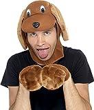 Smiffy's Men's Dog Costume, Dog Hood & Gloves, Brown, One Size, 22144