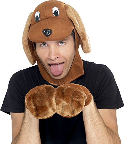 Smiffy's Men's Dog Costume, Dog Hood & Gloves, Brown, One Size, (Dog Halloween Costume For Men)