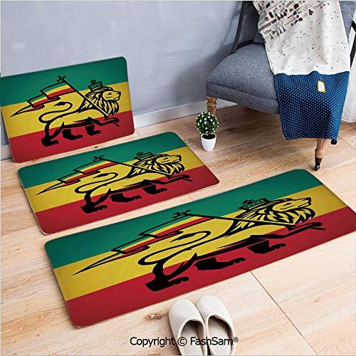 3 Piece Flannel Bath Carpet Non Slip Judah Lion with a Rastafari Flag King Jungle Reggae Theme Art Print Decorative Front Door Mats Rugs for Home(W15.7xL23.6 by W19.6xL31.5 by W19.6xL59)