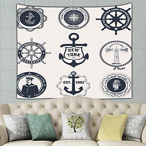 set vintage nautical labels icons design sailor Tapestry Wall Hanging, Hippie Sunset Forest Tapestry, Wall Art Decoration for Bedroom Living Room Dorm, Window Curtain Picnic Mat 50ʺ × 60ʺ