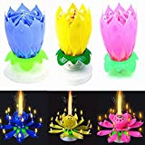 Music Birthday Candle Two Layers with 14 Small Candles Amazing Musical Lotus Flower Rotating Happy Birthday Party Candle Lamp by QWQHI