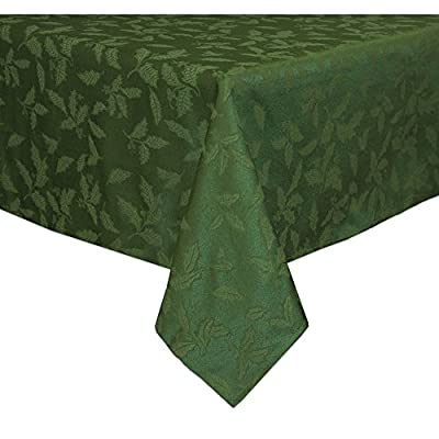 Lenox Holly Damask Tablecloth, 60 by 120-Inch Oblong/Rectangle, Green - Sophisticated and lovely Holly Damask linens from Lenox 58 percent cotton and 42 percent polyester background Features tone-on-tone holly leaves - tablecloths, kitchen-dining-room-table-linens, kitchen-dining-room - 51MBN8sLDtL. SS400  -