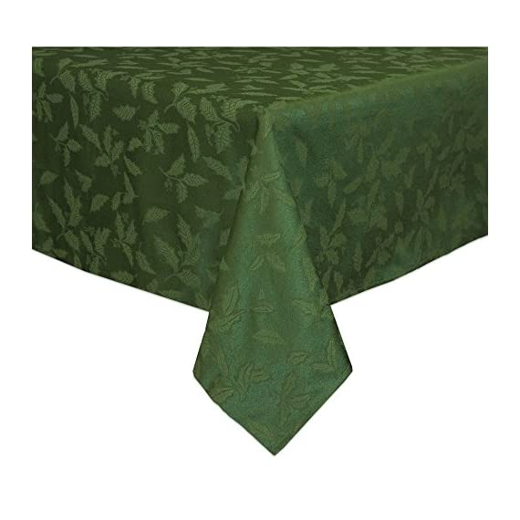 Lenox Holly Damask Tablecloth, 60 by 120-Inch Oblong/Rectangle, Green - Sophisticated and lovely Holly Damask linens from Lenox 58 percent cotton and 42 percent polyester background Features tone-on-tone holly leaves - tablecloths, kitchen-dining-room-table-linens, kitchen-dining-room - 51MBN8sLDtL. SS570  -