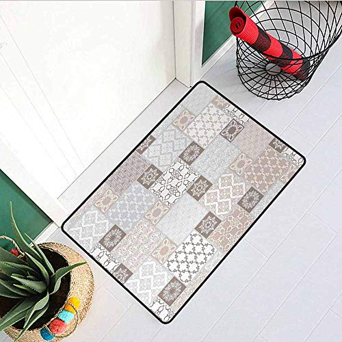 Gloria Johnson Arabian Welcome Door mat Oriental Motif Pastel Patchwork Pattern with Filigree Ornaments Illustration Door mat is odorless and Durable W15.7 x L23.6 Inch White Beige Grey