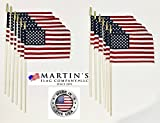 8'' x 12'' American Stick Flags, 24'' x 5/16'' wooden dowel, MADE IN USA, Hemmed Edges (144)
