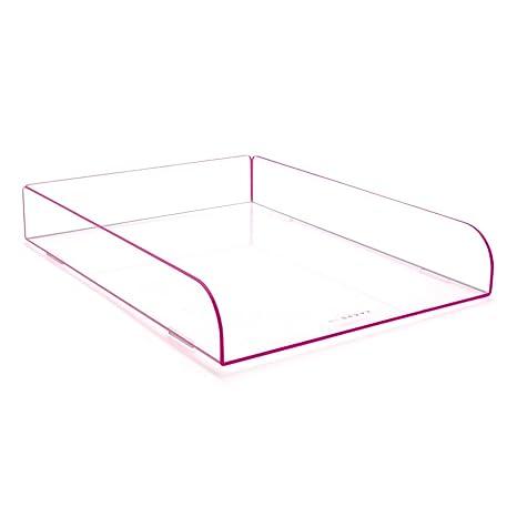 Único color rosa acrílico plástico apilables bandeja de archivo organizador de escritorio para cartas y documentos