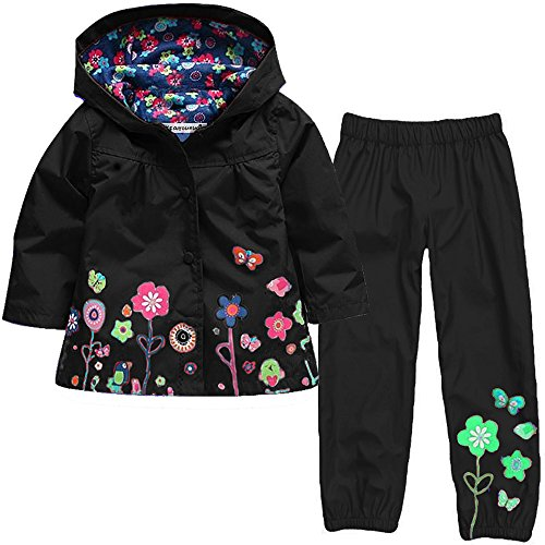 LZH Girl Baby Kid Waterproof Hooded Coat Jacket Outwear Suit Raincoat Hoodies with Pants Black 2T(For Age 1-2Y)