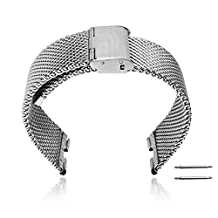 XIEMIN 22MM Stainless Steel Strap Replacement Watchband for Motorola Moto 360 1st gen Smart Watch with Free Screen Protector and Spring Bar Jeweler Tool(Silver)