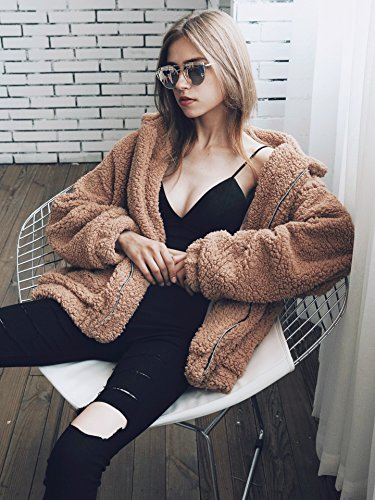e27ffb155 PRETTYGARDEN Women's Fashion Long Sleeve Lapel Zip Up Faux Shearling Shaggy  Oversized Coat Jacket with Pockets Warm Winter: Amazon.co.uk: Clothing