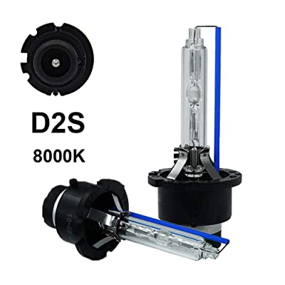 Dinghang D2S 8000K 35W Xenon HID Headlight Replacement Bulbs, High And Low Beam Hid Headlights (2pcs): Automotive