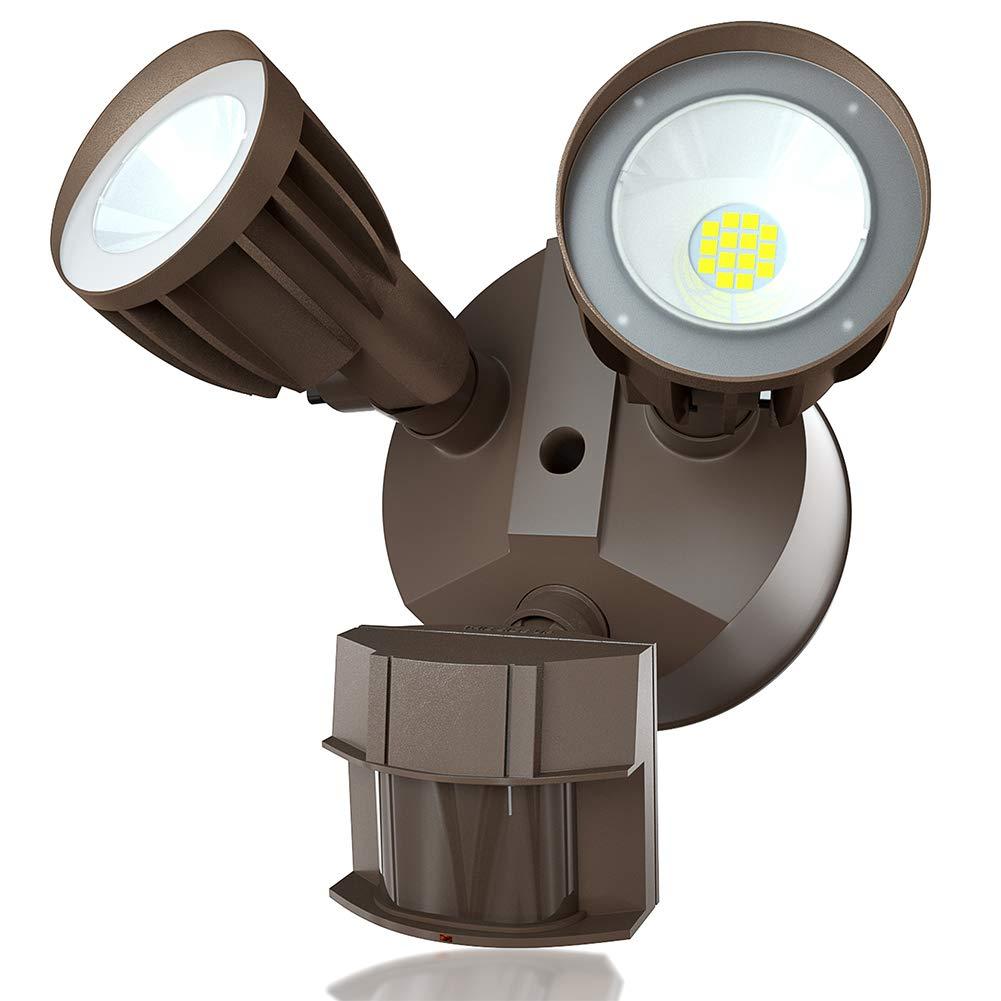 30W LED Security Light Motion Sensor Outdoor 2 Head Led Flood Lights 2550 lumens 5000K Waterproof IP65, ETL Flood Light