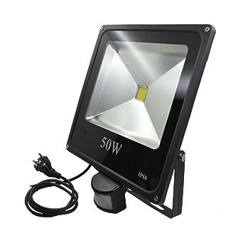 zhma 50 W Proyector LED, exterior proyector LED con detector de ...