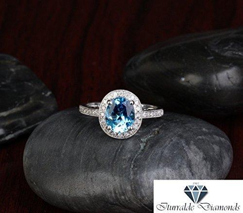 14k Oval Cut Topaz Diamond Pave Milgrain Pattern Engagement Ring - Pave Pattern