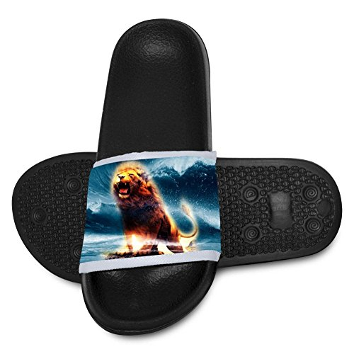 Creative Wave Wall Lion Print Summer Slide Slippers for Boy Girl Indoor Casual Home Sandals -