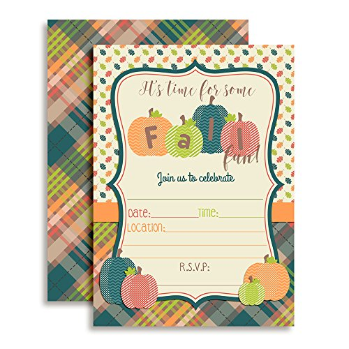 Fun Fall Pumpkin Party Invitations, 20 5''x7'' Fill in Cards with Twenty White Envelopes by AmandaCreation by Amanda Creation