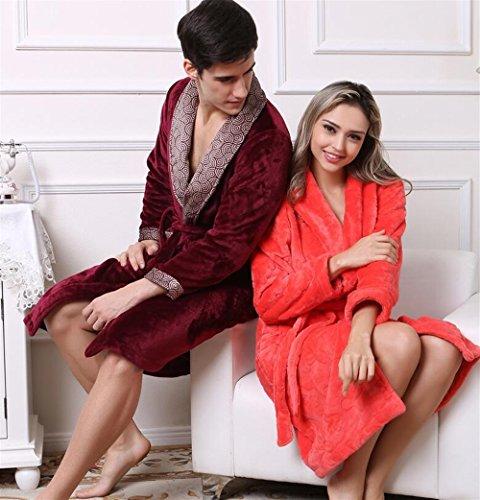 Con Vestidos Franela Pareja Albornoz Red Huyizhi Artículos color De Y Tamaño Baño Wine Xl Watermelon Bata Pijama UgYUARqw