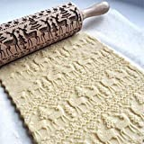 Christmas Elk Print Rolling Pin Kitchen Tools Wooden 13.78 Inch
