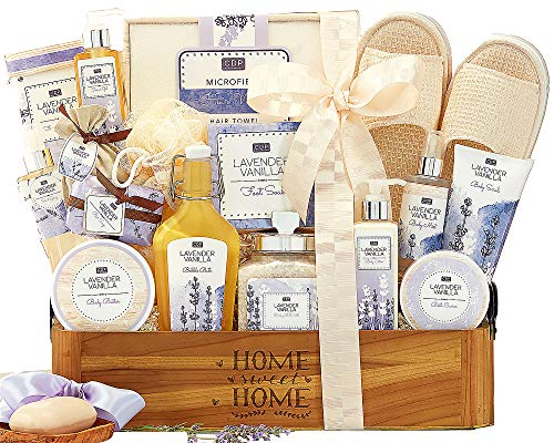 Lavender Vanilla Spa Experience Gift Basket Spa Gift Contains Bath Salts, Bath Caviar, Body Lotion, Body Scrub, Body Butter, Shower Gel, Bar Soap, Body Scrub and More !