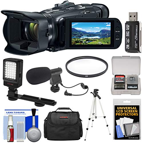 Canon Vixia HF G21 Full HD Video Camera Camcorder with LED Light + Microphone + Case + Tripod + Filter + Kit