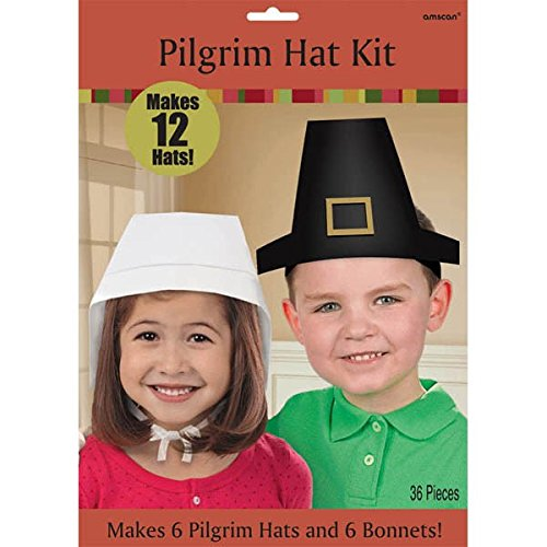 Amscan Festive Fall Thanksgiving Party Make Your Own Hat (12 Piece), Black/White, One (Cute Halloween Craft Ideas For Toddlers)