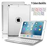 Mini 4 Bluetooth Keyboard,Sammid Adjustment 7 Color Backlit Wireless Keyboard with Aluminum Shell Cover Silent Typing Smart Connector Folio Hand Free Stand Case for iPad Mini 4 7.9 inch - Silver
