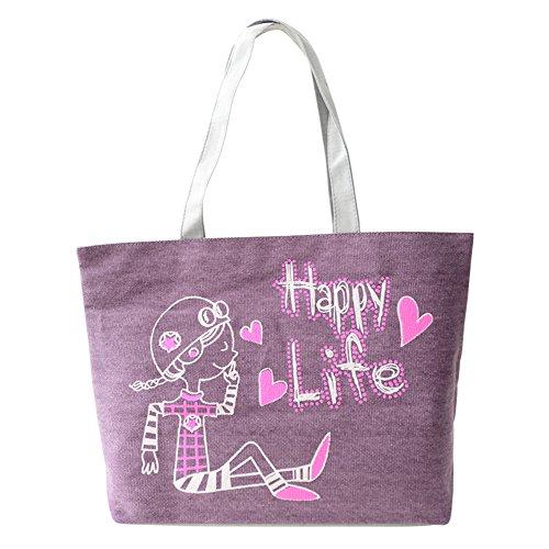 Hrph Cartable Sac d'Ecole Lapin Charmante en Toile Sac Portés Epaule pour Filles Femmes Sacs à Main Mignon Mode Sacs de Shopping Violet