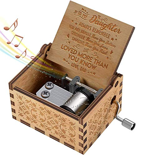 (Hand Crank Music Box for Daughter Gifts from Dad, Play The Tune You are My Sunshine Unique Gifts for Daughter Vintage Engraving Wooden Music Box)