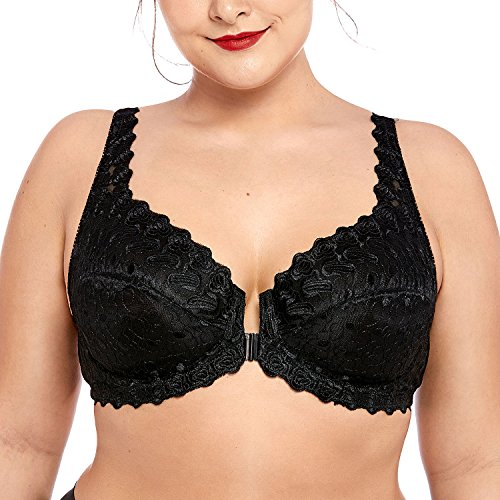 Delimira Women's Plus Size Support Unlined Embroidered Lace Front Close Underwired Bra Black 40DD