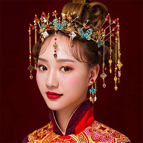 Vintage Retro Chinese Tang Dynasty Headdress Jewelry Traditional Blue Butterfly Bridal Wedding Birthday Party Crown Tiara Diadem Bronzing Phoenix