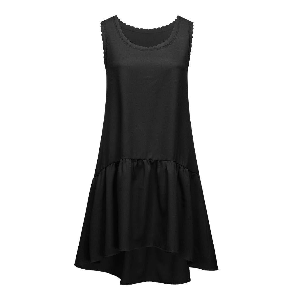 Riverdalin Womens Sleeveless Tank Tops Dress Ruffle Midi Dress Swing Beach Dress Casual Fashion Dress for Summer Black by Riverdalin (Image #2)