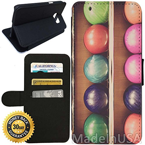 Flip Wallet Case for Galaxy S7 (Bowling Balls) with Adjustable Stand and 3 Card Holders | Shock Protection | Lightweight | Includes Stylus Pen by (Walmart Bowling Balls)